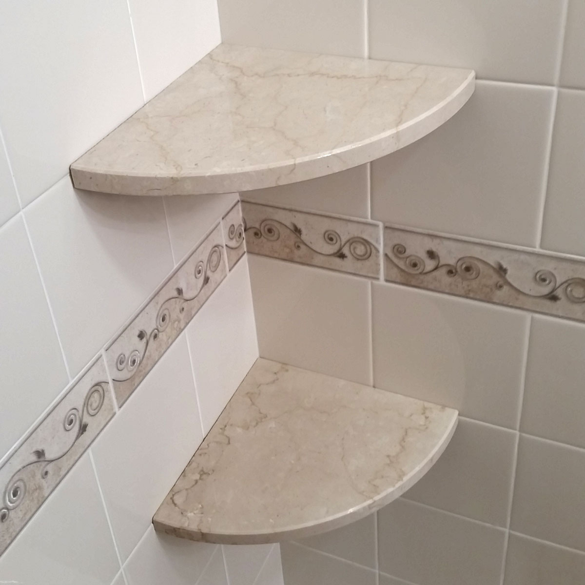 Gorgeous Travertine Corner Shower Shelf - Easy Install - GoShelf™
