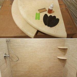 permanent shower shelves