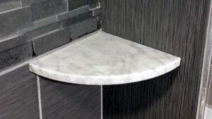 shower corner shelf after tile